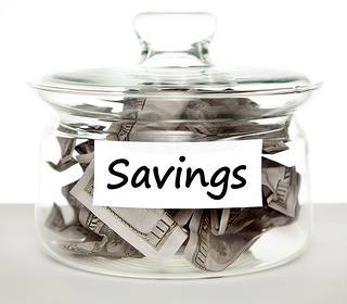 Savings jar with money