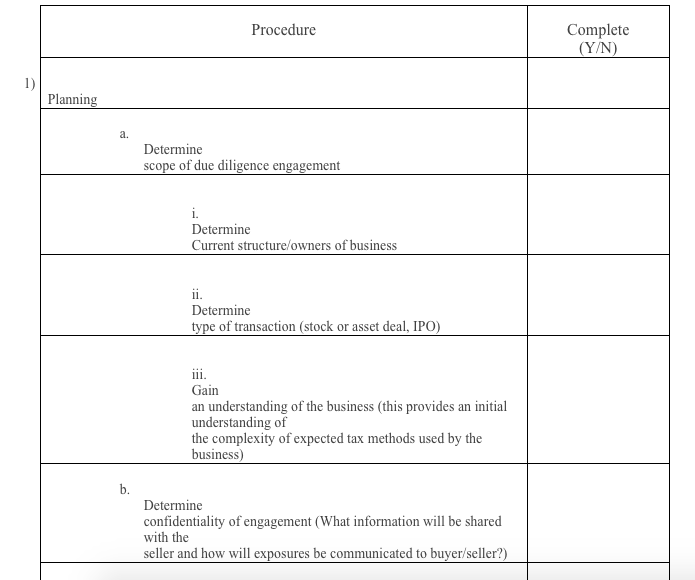 Tax Due Diligence Checklist – Due Diligence Checklist Template